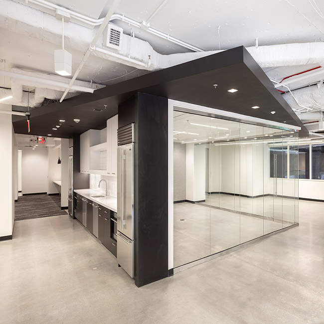 Corner office with glass walls at 1350 Eye Street, Washington DC